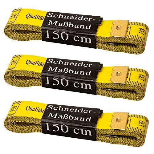 Faden & Nadel 3 x Schneidermaßband, Maßband, Bandmaß in gelb, Länge: jeweils 150 cm lang