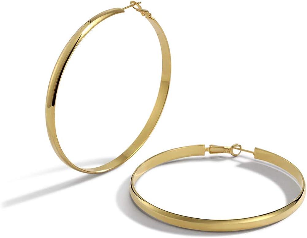 Large Gold Hoop Earrings, SHOWNII Stainless Steel 14K Gold Plated Wide Flat Edge Hoop Earrings, Lightweight Statement Gold Hoop Earrings for Women Girls