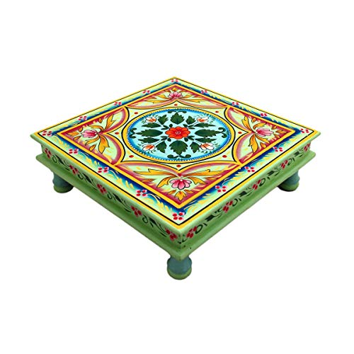 Couchtisch Beistelltisch Sofatisch Dekotisch Magoholz/MDF Holz Handbemalt Orientalisch Indisch Bunt Handarbeit Deko Mandala (Grün)