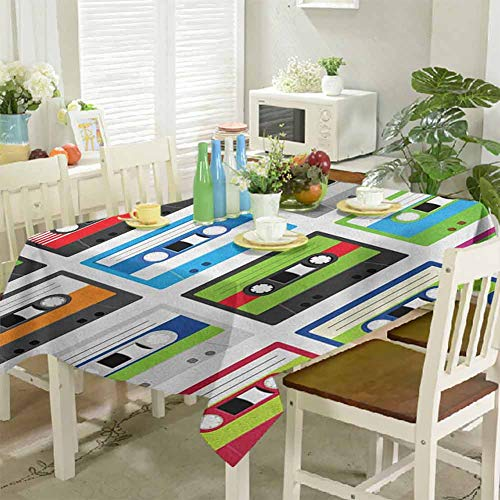 Tablecloth Stain Resistant Collection of Retro Plastic Audio Cassettes Tapes Old Technology Entertainment Theme 60