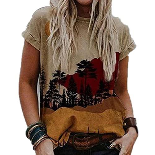 SLYZ Camiseta Casual De Cuello Redondo para Mujer De Verano Camiseta Suelta Descolorida En Forma De Corazón único S 3XL Camiseta De Manga Corta Estampada A La Moda