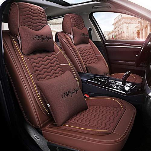 Preisvergleich Produktbild ZHMqcd Einfacher Autositzbezug,  Vorder- und Rückseite 5 Kompletter Satz Universal-Leinen Four Season-Schutzpolster mit Kissen. Eine Vielzahl von Farben zur Auswahl. (Farbe : Brown)