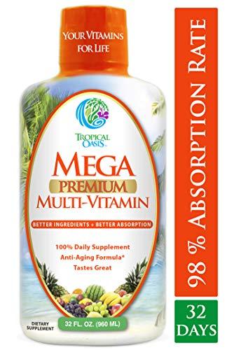 Mega Premium Liquid Multivitamin -Natural Anti Aging Multi-Vitamin w/20 Vitamins, 70 Minerals, 21 Amino Acids, CoQ10 & Organic Aloe Vera- Orange Flavor- Gluten and Sugar Free- 98% Absorption- 32 Serv