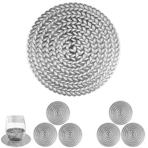 MANGATA Untersetzer Silber Rund 6er Sets, Hitzebeständig Glasuntersetzer für Bar Glas, Tassen, Vasen, Kerzen, Schüsseln (10cm, Silber)