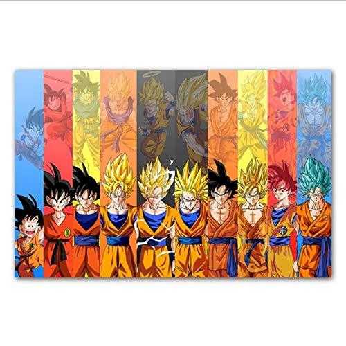 yhnjikl Dragon Ball Super Poster Goku Ultra Instinct Pintura de la Lona Cuadro de la Pared para la Sala de Estar Cartel de la Película Decoración del Hogar 40X60Cm Sin Marco