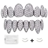LuReen Gold Silver Pave Full CZ Grillz 8 Teeth Top and Bottom Grillz + Extra 2 Molding Bars