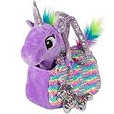 Little Jupiter Plush Pet Set - Unicorn Toys - Unicorn Gift for Girls - Stuffed Animal for Kids - Plushie - Plush Toy - w/ Reversible Sequins & Charm (Purple Rainbow Unicorn) Age 4 - 5 - 6 - 7 yrs