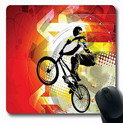 Onete Dirt Bike Mousepad Oblong Dirt Bike BMX Fahrer Silhouette auf Bunt mit Halbton-Effekt Extremsport Schwarz Rot Rutschfestes Gummi Mauspad B眉ro Computer Laptop