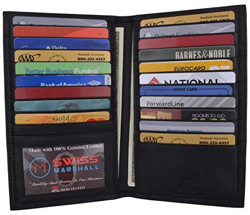 RFID Blocking Bifold Genuine Leather Credit Card ID Holder Long Wallet (Black)