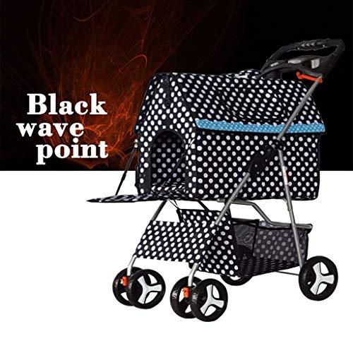 Reis van de hond van de Buggy kinderwagen, buggy, inklapbaar, met 4 wielen, Zwart-b