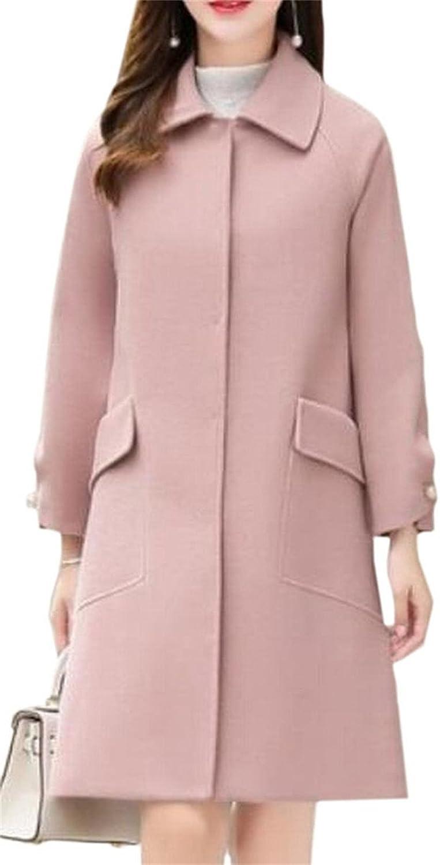 FLCH+YIGE Women's Stylish WoolBlend Button Slim Solid Overcoats Pea Coats