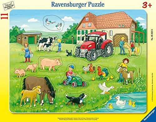 Ravensburger Kinderpuzzle - 05024 Sommertag auf dem Bauernhof - Rahmenpuzzle für Kinder ab 3 Jahren, mit 11 Teilen