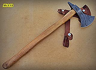 Ax-113, Handmade Damascus Steel 21 inches Beautiful Axe Olive Wood Handle