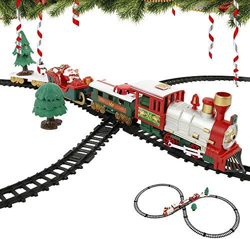 Wealthgirl Juego de Trenes navideños con Sonido Realista y luz Tren de...