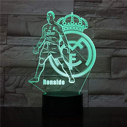 Luces nocturnas 3D Real Madrid C Ronald Illusion Lámpara de escritorio LED 7 Color Touch Remote Color Luces de decoloración USB Hogar Dormitorio Luces de noche