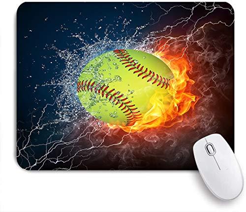 VAMIX Medium Mauspad,Baseballball auf Feuer und Wasser,Laptop Tischunterlage wasserdichte Schreibunterlage für Büro Gaming rutschfest Mauspads 240mm x 200mm