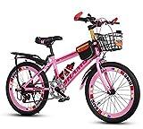 CivilWeaEU- Biciclette per Bambini, 6-7-8-9-10-14 Anni Passeggino Ragazzo Femmina La Mountain Bike da 20/22 Pollici per Studenti (Colore : Rosa, Dimensioni : 20 Inches)
