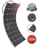 GIARIDE 12V 18V 100W Pannello Solare Monocristallino Cella Flessibile Portatile Impermeabile Fotovoltaico Modulo per, Camper, Roulotte, Auto, Batteria 12V, Tetto, RV, Barca