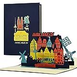 Gutschein, Reisegutschein für Städtereise nach Bremen|3D Pop Up Karte Bremer Sykline|Hotelgutschein für Sie oder Ihn|Geschenkidee und Geschenk, A128AMZ