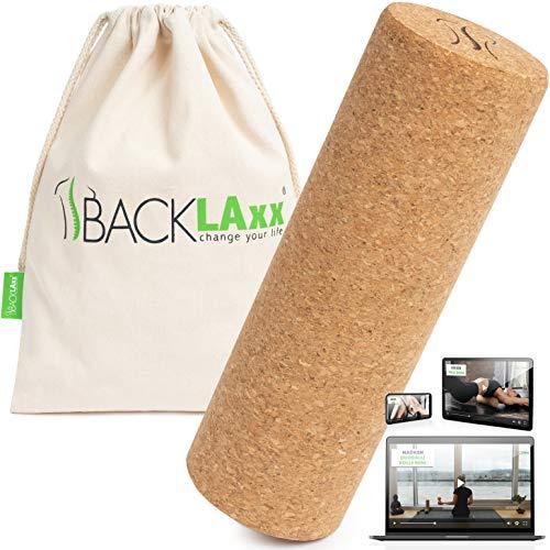BACKLAxx® Faszienrolle Set aus Kork - Korkrolle ideal für Faszien, Rücken und Wirbelsäule - Schadstofffrei und antibakteriell inkl. Anwendungsvideos