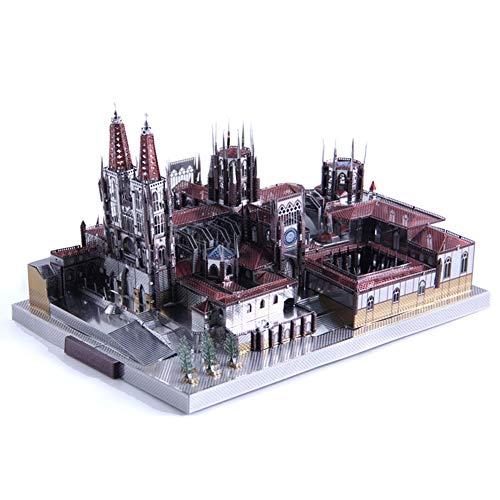 3D Metal Puzzle Famous Architecture Assemble Model Building Kit DIY Laser Cut Jigsaw - Microworld J046 Spain Burgos Cathedral