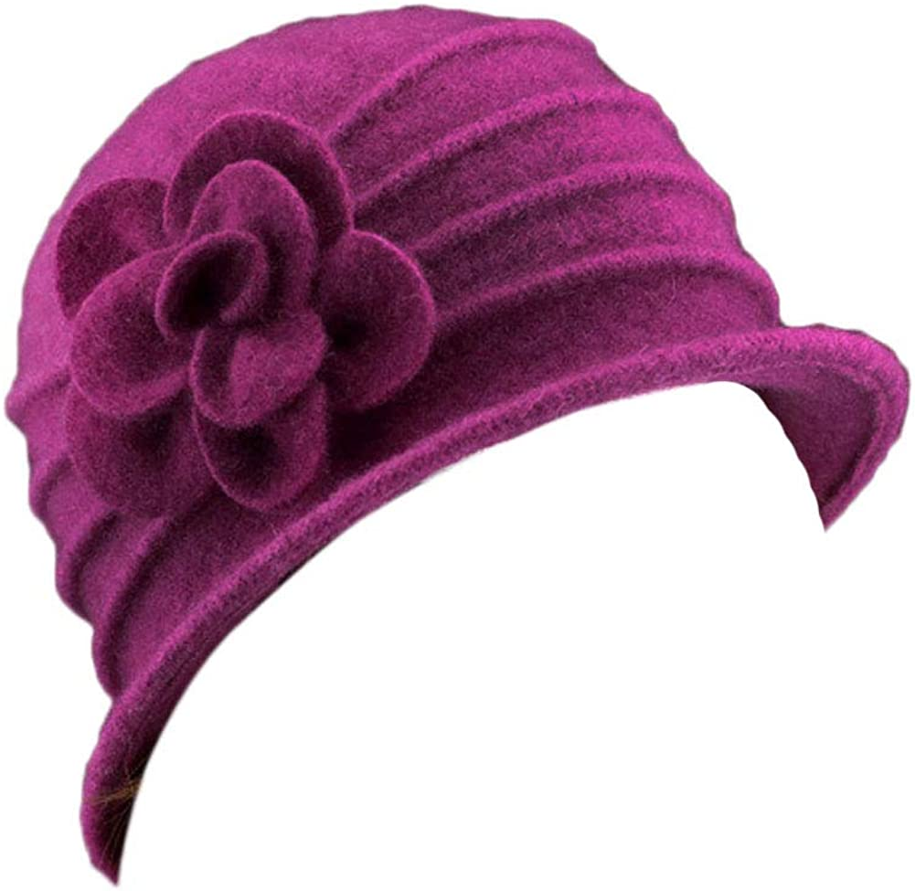 Eliffete Women's Girl's 100% Real Wool Cap Outdoor Beanie Hat Bucket Warm Fedora