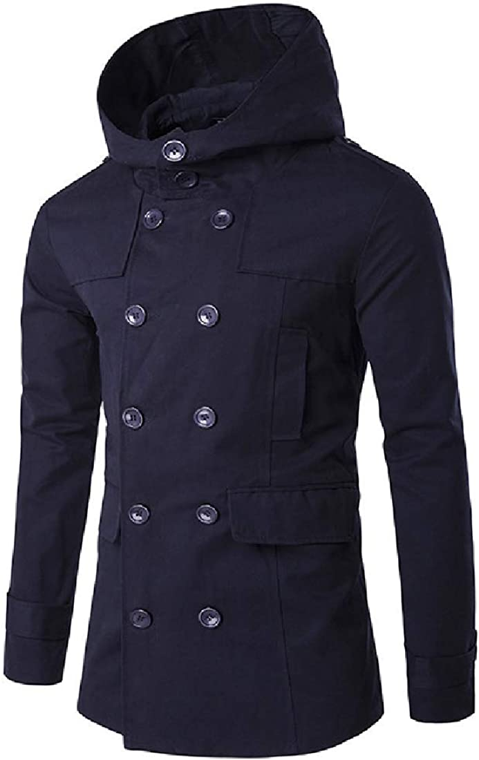 Men Solid Hooded Jacket Quilted Comfort Office Trench Coat Raincoat