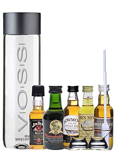 Whisky Probierset Auchentoshan 12 5cl, Ben Nevis 10 5cl, Bowmore 12 5cl, Bunnahabhain 12 5cl, Jim Beam 5cl + 500ml Voss Wasser Still, 2 Glencairn Gläser und eine Einwegpipette