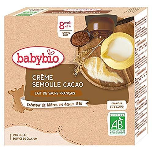 Babybio - Gourdes Lactées - Crème Semoule Cacao 4x85 g - 8+ Mois - BIO - Lot de 3