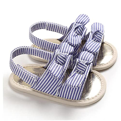 Sanfiyya La niña de Sandalias Precioso algodón Suave Punta Abierta Antideslizantes Zapatos de Suela de Verano para niños pequeños 6-12m púrpura