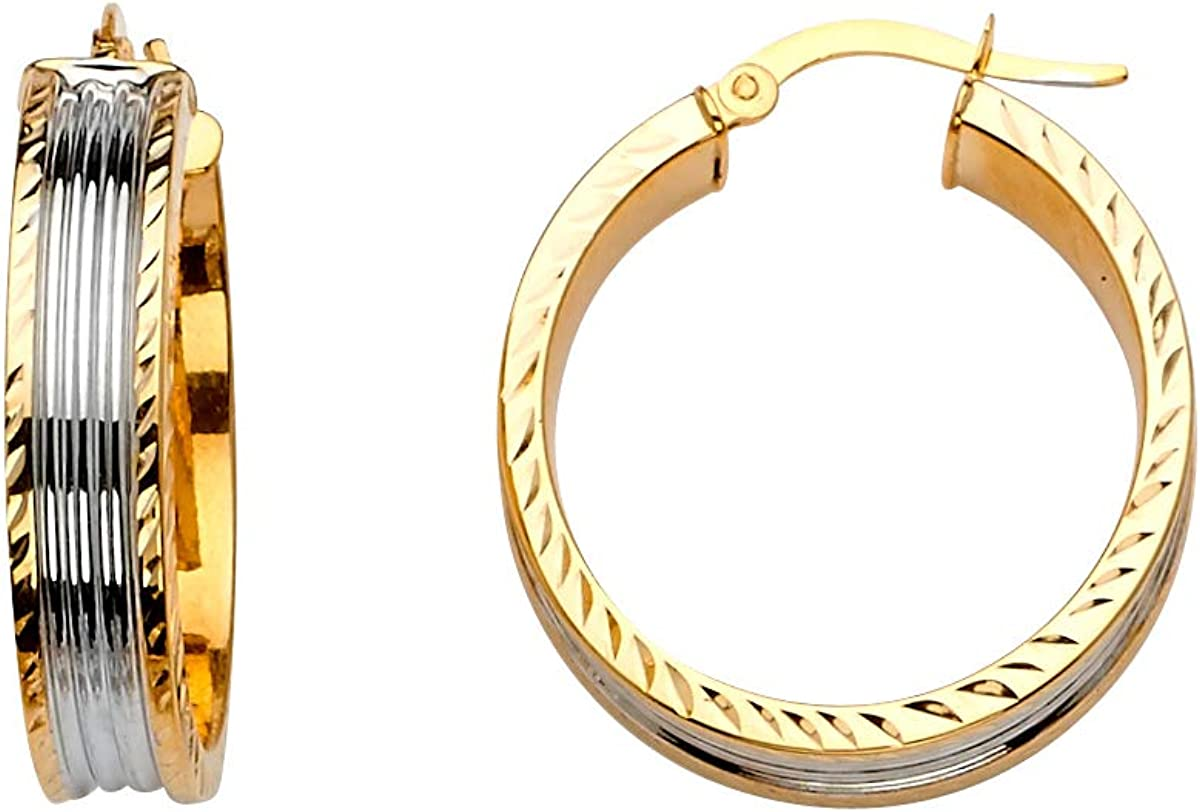 14K Two Tone Gold Diamond cut 6mm Hoop Earrings for girl Diameter - 25 MM