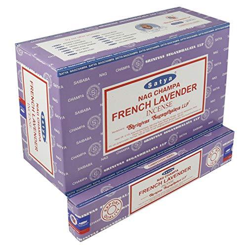 Satya - Varillas de incienso 12 paquetes de 15 g aprox. 180 palillos de lavanda francesa.