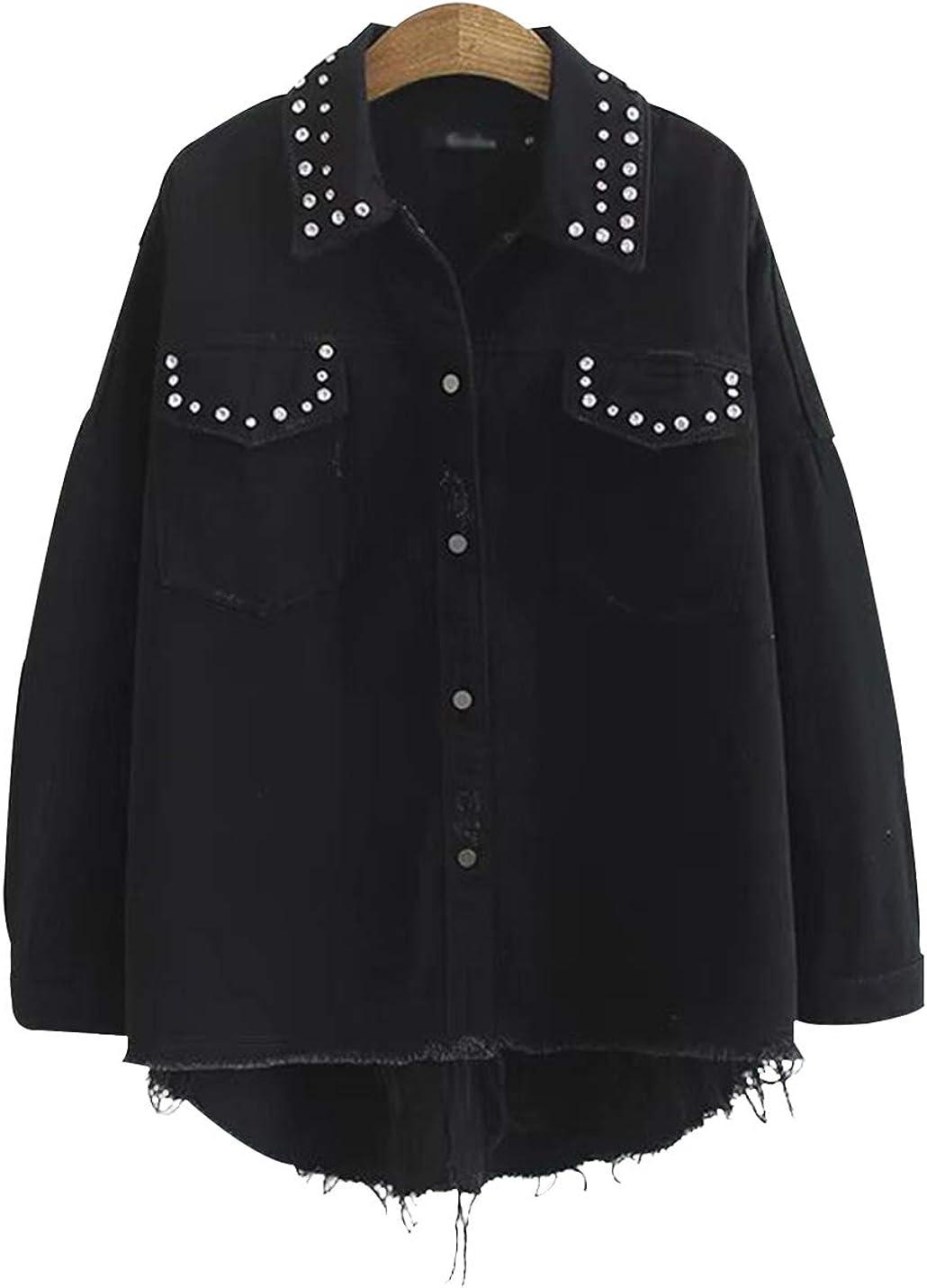 Gihuo Women's Vintage Oversized Button Down Black Jean Denim Jackets