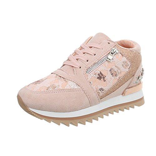 Ital-Design Sneakers High Damen-Schuhe Keilabsatz/Wedge Schnürsenkel Freizeitschuhe Altrosa, Gr 38, G-123-