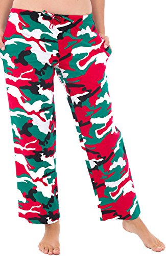 Alexander Del Rossa Women's Flannel Pajama Pants, Long Cotton Pj Bottoms, Small Christmas Camouflage (A0702N26SM)