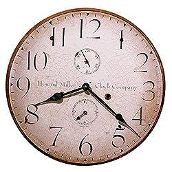 Howard Miller Original III Wall Clock 620-314 – Fade Resistant Inks, Antique Dial Mount on Laser-Cut 0.25 Thick Panel Base, Black Hands, Quartz Movement