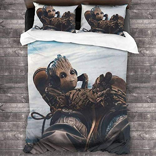 AQEWXBB Groot Anime - Juego de ropa de cama (1 funda de edredón y 2 fundas de almohada), diseño de dibujos animados (Groot3, 135 x 200 cm + 80 x 80 cm x 2)