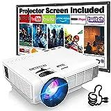 Proyector HI-04 con Pantalla de Proyección, Proyector Video 6500 Lúmenes Soporta 1080P Full HD, Mini Proyector Compatible con TV Stick HDMI VGA USB TF AV, para Cine en Casa y Películas al Aire Libre.
