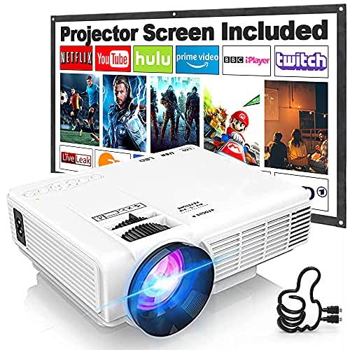 Proyector HI-04 con Pantalla de Proyección, Proyector Video 7000 Lúmenes Soporta 1080P Full HD, Mini Proyector Compatible con TV Stick HDMI VGA USB TF AV, para...