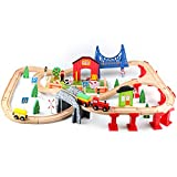 Jamohom Wooden Train Sets Tracks Toys with 82 Pcs,Train Set for 3+ Year Old Boys and Girls Toddler...