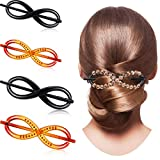 4 Pieces Women Barrette Clip with Stick Twist Type DIY Pin French Resin Shell Hair Slider Pin for DIY Decorative Hair Accessories Work School Activities Wedding Birthday Dance Parties Headdress