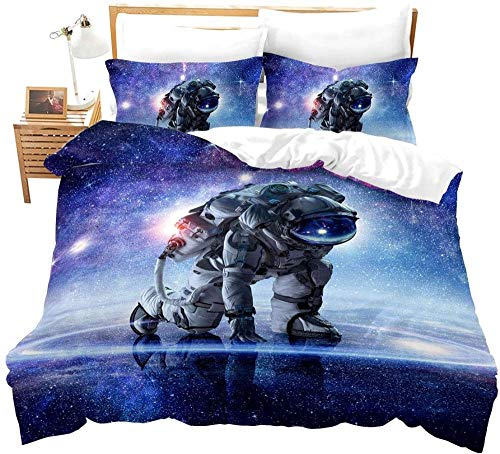 RONGXIE Duvet Cover Single - Washed Microfiber Bed Cover With Zipper Closure & Corner Ties, Breathable Soft Hypoallergenic 3 Piece Duvet Covers Set- Astronaut Landscape In Outer Space In Blue Galaxy