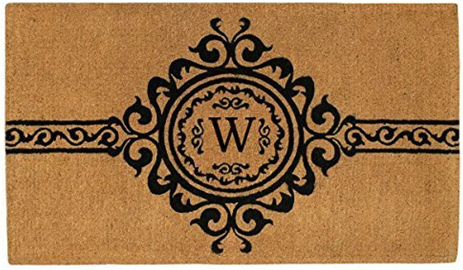 Home & More 180071830W Garbo Extra-Thick Doormat, 18  x 30  x 1.50 , Monogrammed Letter W, Natural Black