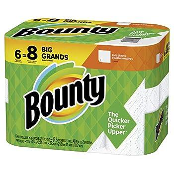 Bounty Paper Towels White 6 Big Rolls = 8 Regular Rolls