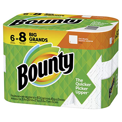 Bounty Paper Towels, White, 6 Big Rolls = 8 Regular Rolls (Packaging May Vary)
