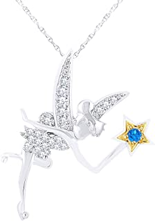 Simulated Gemstone with Diamond Tinker Bell Pendant Necklace in 14K Gold Over Sterling Silver