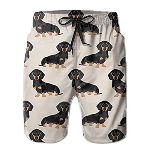 QUEMIN Wiener Dog Doxie Dachshund Weiner Dog Men Casual Swim Trunks Pantalones Cortos Transpirables de Secado rápido con Bolsillos M