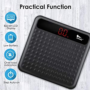 Uten Digital Body Weight Bathroom Scale, High Precision Measurements Scales with Step-On Technology, Large Non Slip Silicone Platform and LCD Digital Display, 400lbs/180kg Capacity