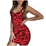 BHYDRY Fashion Women Sexy Camouflage Print Patchwork Sleeveless Camisole Mini Dress
