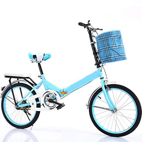 WLGQ Bicicleta Plegable, portátil para Adultos de 20 Pulgadas, pequeña Bicicleta para Estudiantes, para Hombres, Mini Bicicletas para Adultos para Hombres y Mujeres (Color: Azul)